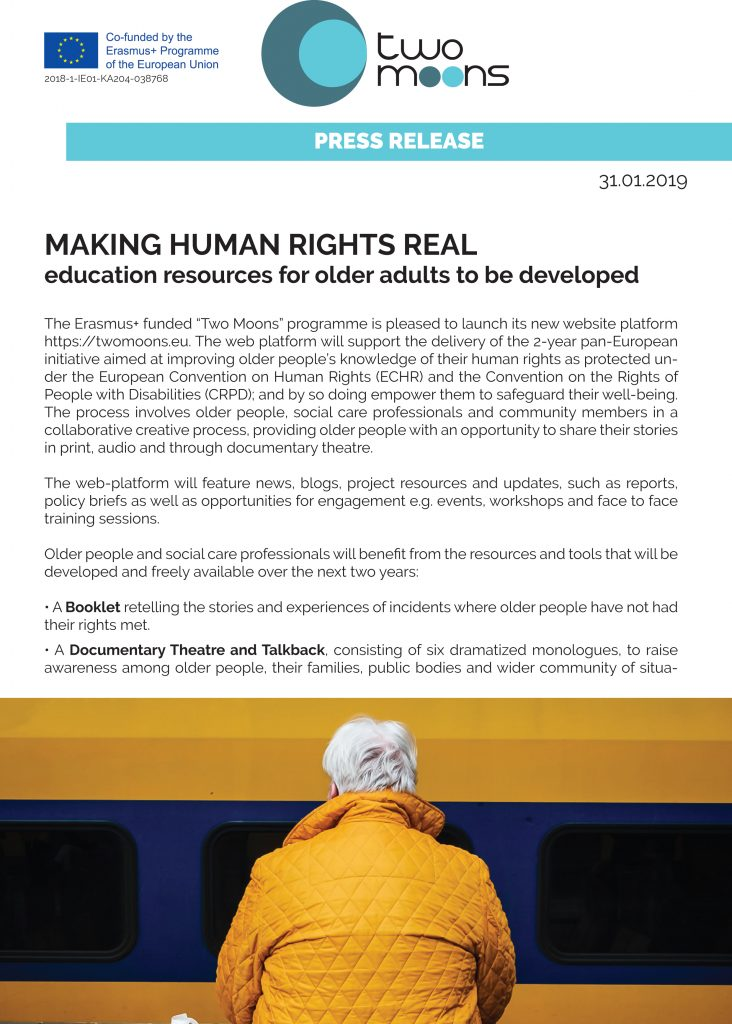 MAKING HUMAN RIGHTS REAL education resources for older adults to be developed